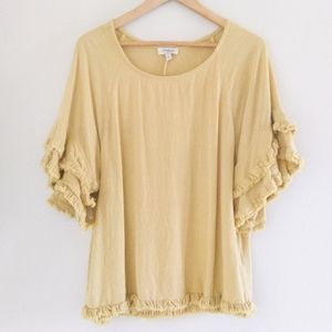 UMGEE Linen Blend Raw Edge Ruffle Sleeve Boho Top